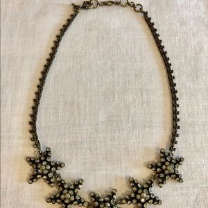 J. Crew Czech rhinestone & black star necklace